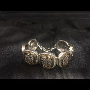 Brighton Square link bracelet silver gold tone